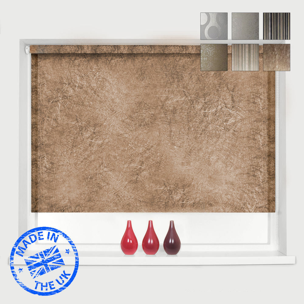 Kitchen Roller Blinds Made To Measure: * MADE TO MEASURE * 8 DESIGNS * METALLIC PATTERNED ROLLER BLINDS - *EASY TO FIT*